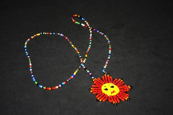 Huichol Necklace, Native American Necklace, Beaded Sun Necklace, Beaded Necklace, Native Beadwork, Huichol Jewelry, Tribal, Hippie