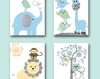 Baby Boy Nursery Wall Decor Kids Art Kids Wall Art Childrens Art Print  Giraffe Wall Decor