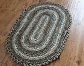 "Rag Rug, Green 30"" x 45"" Crocheted Oval Rag Rug, Cottage Chic Decor, Shabby Chic, Nursery Rug, Crochet Rag Rug, Green Rag Rug"