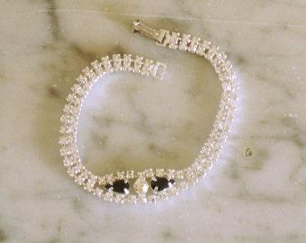 Black Rhinestone Bracelet Crystal Bracelet Diamante Bridal Wedding Prom Special Occasion Jewelry