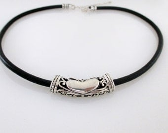 Sterling Silver And Leather Necklace, Leather And Silver Necklace, Leather Necklace, Leather Necklaces For Women, Black Leather Necklace