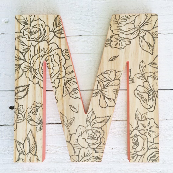 Decorative wall letter hanging wooden letters floral print - Decorative wooden letters for walls ...