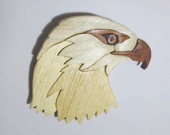 Bald Eagle Wallhanging Wood Intarsia Sculpture Mosiac Wallhanging Wildlife