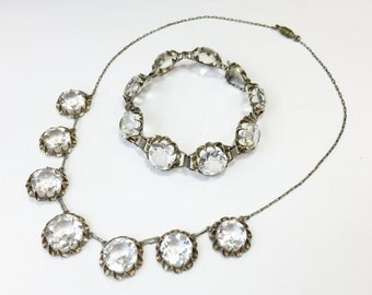 1900s Faceted Glass Circles Necklace and Bracelet Set