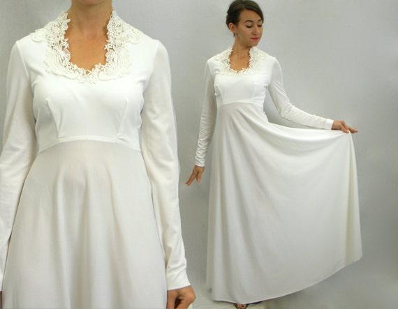 Items Similar To Vintage Wedding Dress 70s White Bridal