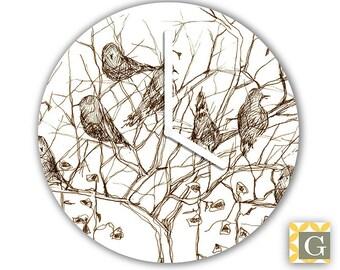 Wall Clock by GABBYClocks - Sepia Birds Grande