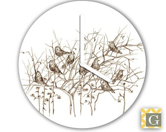Wall Clock by GABBYClocks - Sepia Birds Petite