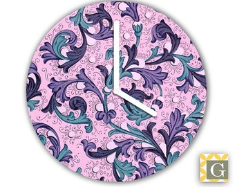 Wall Clock by GABBYClocks - Vintage Purple Wallpaper