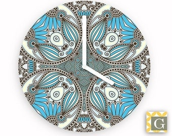 Wall Clock by GABBYClocks -  Blue Gray Paisley Grande