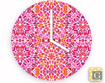 Wall Clock by GABBYClocks - Fuchsia Flurry No. 4