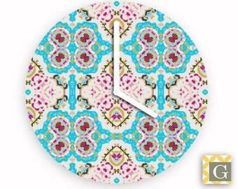 Wall Clock by GABBYClocks - Turquoise Window No. 2