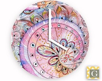 Wall Clock by GABBYClocks - India Ink Swirl