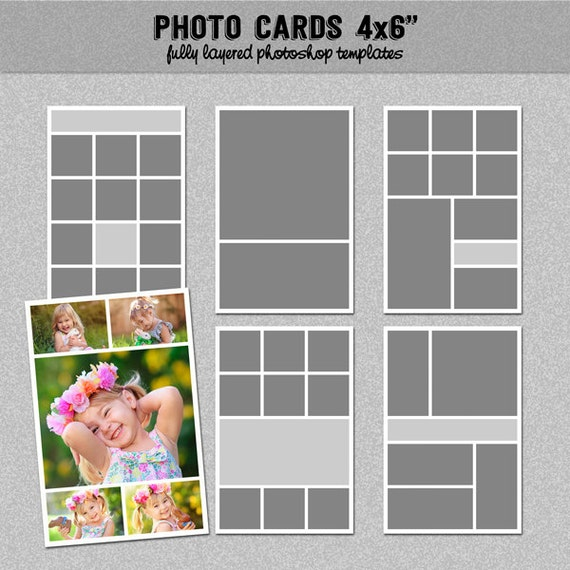 6 photo card templates 4x6 set 1 instagram collage. Black Bedroom Furniture Sets. Home Design Ideas