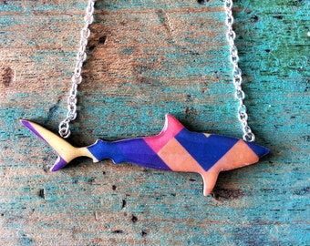 Shark Necklace / Tiger Shark Necklace - Geo Blocks