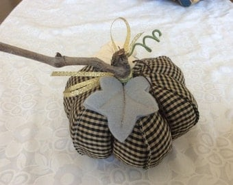 Checked Fabric Pumpkin,Stuffed Pumpkin, Thanksgiving Decor, Autumn  Accent, Autumn Decor, Table  Centerpiece, Pumpkin, Autumn  Harvest