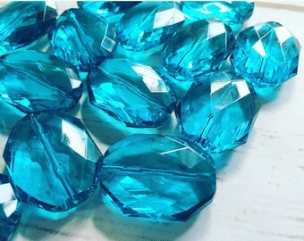 31x24mm Teal Blue Faceted Slab Nugget Beads, Beads for Bangle Making or Jewelry Making, transparent beads, chunky beads, statement beads