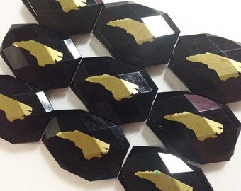 North Carolina in Gold on Large Black Beads - Faceted Nugget Slab Bead - FLAT RATE SHIPPING 34mm x 24mm