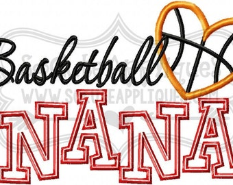 Embroidery design 6x10 Basketball Nana, embroidery sayings, socuteappliques, basketball nana applique, basketball grandma embroidery