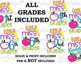 SVG, DXF, EPS Cut file Kindergarten, 1st, 2nd, 3rd Grade cut file, back to school cut file, socuteappliques, silhouette cut file, cameo file
