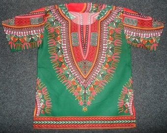 African Wax Dashiki Tunic for Kids - Size 7