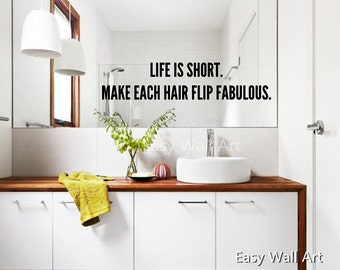 Life Is Short Mirror Wall Quotes   Life Is Short Wall Sticker Life Is Short  Wall