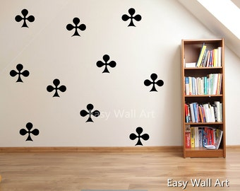 Club Pattern Wall Decal - Clubs Wall Sticker Poker Wall Decal Club Pattern Nursery Vinyl Lettering Poker Sticker Club Pattern Decals #587P