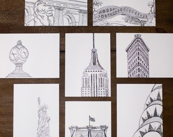Handmade New York City Cards - 8 Pack: New York City Icons