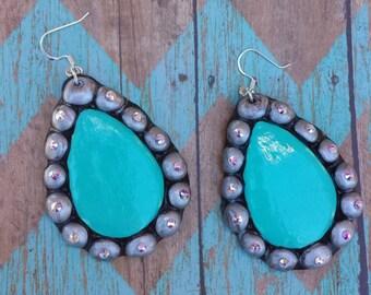 Western teardrop handmade clay earrings 5 colors with Swarovski crystals