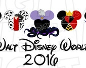 Villains in Mickey Mouse heads ears Walt Disney World 2016 Digital Iron on transfer clip art INSTANT DOWNLOAD Image DIY for Shirt