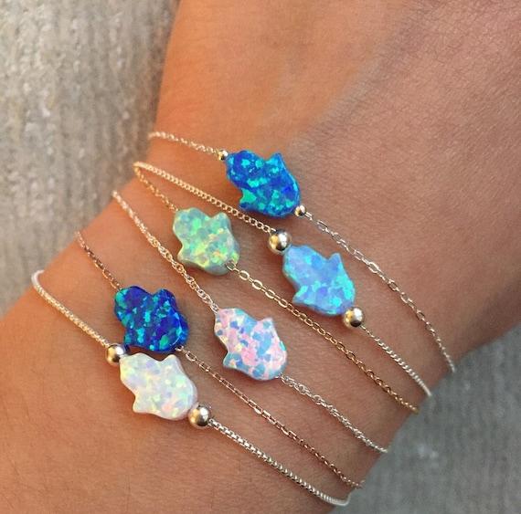 Mini Lab Opal Hamsa Bracelet; Sterling silver, gold filled or Rose gold plated bracelet with Mini Lab Opal Hamsa