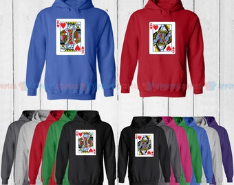Playing Cards King of Hearts & Queen of Hearts - Matching Couple Hoodie - His and Her Hoodies - Love Sweaters