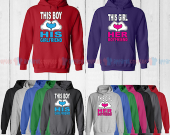 This Boy Loves His Girlfriend & This Girl Loves Her Boyfriend - Matching Couple Hoodie - His and Her Hoodies - Love Sweaters