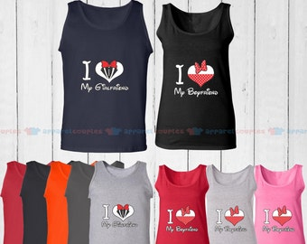 I Love My Girlfriend & I Love My Boyfriend - Matching Couple Tank Top - His and Her Tank Tops - Love Tank Tops