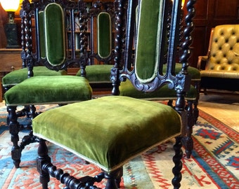 Antique Dining Chairs Oak Six Carolean Gothic Green Velvet Carved 19th Century