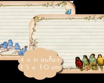 4 Vintage Bird Journaling Tags