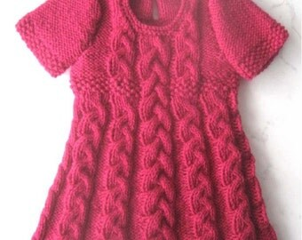 Baby Dress Knitting Pattern - Instant Download PDF  - 6 sizes - newborn - 4 years. 3 different sleeve options included