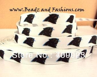 carolina panthers 3/8 white black blue grosgrain ribbon 1 yard