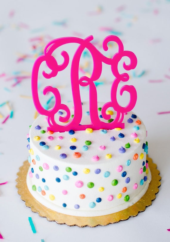 Cake Toppers Birthday Etsy : Items similar to Custom Cake Topper. Monogram Cake Topper ...