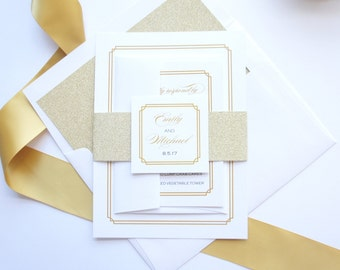 Wedding Invitation with rsvp - Glitter Wedding Invites, Glitter Belly Bands, Wedding Invitation Set, Wedding Invites - SAMPLE SET