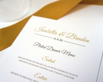 Gold Wedding Menus - Gold Wedding Menu Card, Gold Menu, Dinner Menu, Elegant Wedding Menu, Formal Wedding, Customized - DEPOSIT
