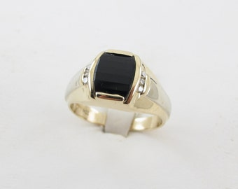 14k Yellow And White Gold Men's Diamond And Onyx Ring Size 10 3/4