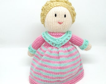 Knitted doll Soft toy. Traditional doll. Handknitted. Pink and Mint.