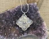 Fern Hawaiian Quilt Design Silver Pendant