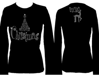 Christmas Tree and Reindeer Rhinestone Holiday  Bling Glitter  Long Sleeve Womens Tee Shirt