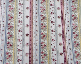 Vtg French Floral Stripe Shabby Chic Fabric Cottage 64w X 52long
