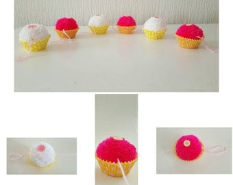 Cupcake bunting, cupcake garland, pompom bunting, pompom garland, party decor, nursery decor, kitchen decor, baby shower, nursery garland