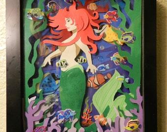 Red head mermaid paper diorama shadowbox