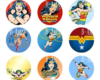 1 inch circles of Wonder Woman Bottle Cap Images the Smithsonian Diana Comic book Character Digital image 4x6, Super Hero