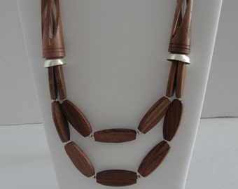 Brown Wooden Necklace Set