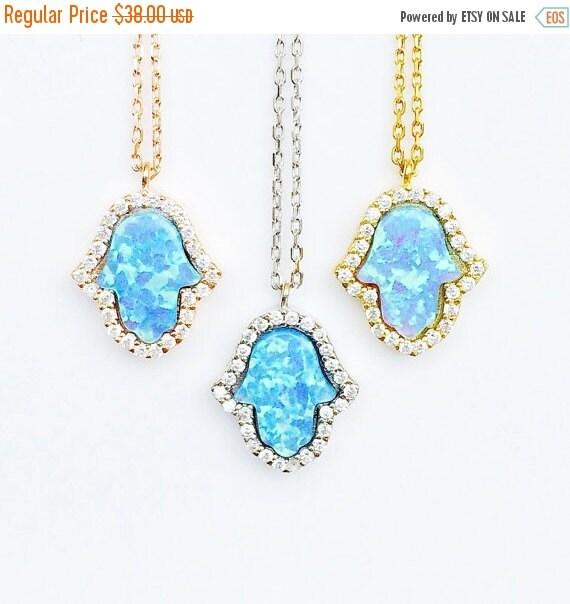 opal hamsa necklace cubic zirconia